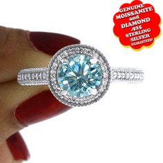 "1/2 Ct Genuine Moissanite & Diamond 14K Gold Halo Engagement Wedding Ring ""Mother\'s Day Gift"". Starting at $29"