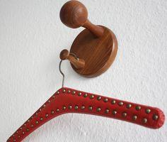 vintage wall hook teak / Mid Century / coat rack wooden / brown / entrance / entry / hallway decoration / 50s 60s