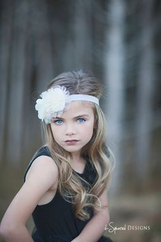 Baptism Headband: Double Natural White Chiffon Flowers with Bead and Tulle Accent on Soft Light Grey Elastic Headband
