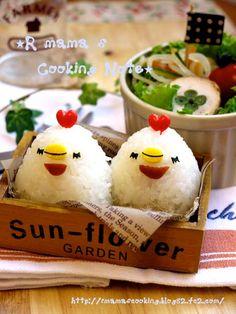 Twins chicken onigiri - Cute! #ChickenHeartsMoms ^SM