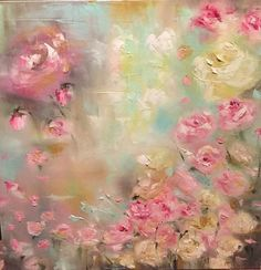 Sophia's Garden Oil on Canvas 24 x 24 Amy Abig Garden Illustration, Abstract Flowers, Floral Flowers, Arte Floral, Acrylic Art, Beautiful Paintings, Painting Inspiration, Art Pictures, Art Lessons
