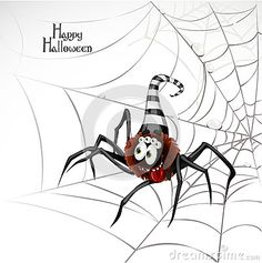 Happy Halloween banner with cute spider on the web by Azuzl, via Dreamstime