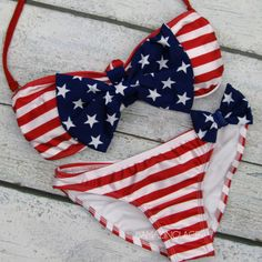 stars and stripes usa flag bikini bow top WANT