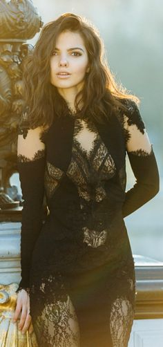 Rhea Costa Black Lace Evening Dress by The Golden Diamonds. If it was all lace it would be winning