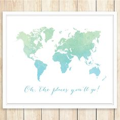 Large World Map Print 16x20 and 11x14 Oh The by coffeeandcoco
