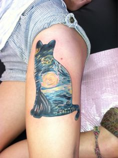 Done by Ryan Adams from Marvel Tattoo. Starry Starry Night by Van Gogh has always been my favorite painting, but I didn't know how to get it tattooed on me without it being an awkward rectangle. Cats have always been my favorite animal, and their shape is very graceful, so I combined the two.