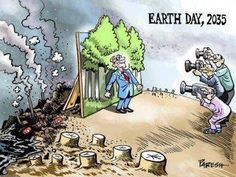 Earth Day, 2035 | One wonders what a person is thinking as they cut down the last tree. [click on this image to find an analysis and short clip from the award winning documentary, An Inconvenient Truth]