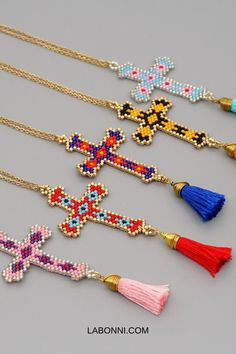 Cross Necklace Bohemian Colorful Pendant Handmade Tassel Beaded Necklaces Women Jewelry #necklace #bohostyle #ethnicjewelry #pendant #beadednecklace Women's Jewelry, Bohemian Jewelry, Simple Earrings, Women's Earrings, Beaded Necklaces, Tassel Necklace, Christian Jewelry, Necklace Types, Shape Patterns