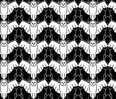 Night Flight fabric by strathner on Spoonflower - custom fabric owls and bats Escher Art, Mc Escher, Pattern Illustration, Graphic Illustration, Textures Patterns, Print Patterns, Tessellation Art, Fabric Design, Pattern Design