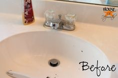 DIY new bathroom faucets.  Complete tutorial at www.houseofhepworths.com