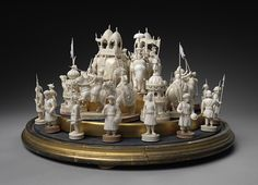 """East India """"John"""" Company set, Early to mid-19th c. Berhampore, India Ivory King: 5 1/2 in. Dome: 16 3/4 in. diameter; 13 in. high"""