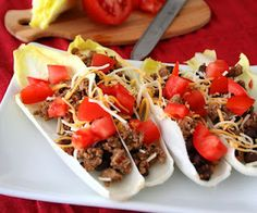 Turkey Taco Endive Boats (Low Carb and Gluten-Free) | All Day I Dream About Food... Super smart substitute for taco shells:)!!