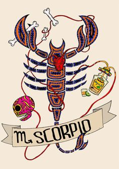 Limited edition SCORPION zodiac sign, Original Illustration, Fine Art Print, Bullskull, FRIDA KAHLO by CorazonBeats on Etsy https://www.etsy.com/listing/222379013/limited-edition-scorpion-zodiac-sign