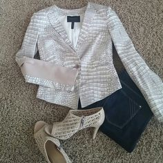 BCBG cute jacket Reptile print, single button short jacket. Used, in excellent condition. BCBGMaxAzria Jackets & Coats Blazers