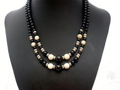 Vintage Black Art Glass Bead Necklace Multi 2 Strand Graduated Silver White | eBay