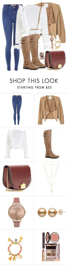 """""""Untitled #1136"""" by maria-canas ❤ liked on Polyvore featuring MANGO, Zimmermann, JustFab, Victoria Beckham, Natalie B, Olivia Burton and Charlotte Tilbury"""
