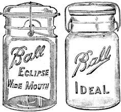 Digital Two for Tuesday: Ball Jars 2 Mason Jar Crafts, Mason Jar Diy, Vintage Mason Jars, Planners, Jar Art, Ball Mason Jars, Canning Jars, Bottles And Jars, Digi Stamps