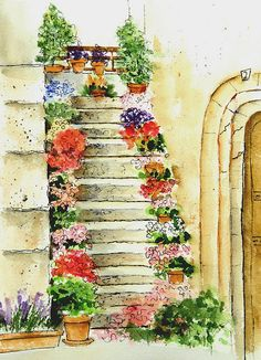"""Flowered Stairs Been a busy time here ... I""""m working on a Memoir Writing Class, teaching watercolor and have been enrolled in Sketchbook Skool and getting back to my sketching. It's helping to focus more on the lines rather than the paint .. and in retraining my eyes to SEE and OBSERVE.     This is a quick sketch done in pen and washes (done outside of class!! LOL)."""