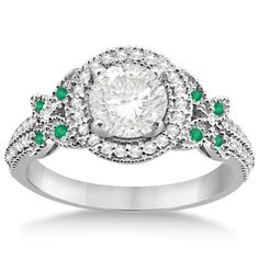 Halo Diamond & Emerald Butterfly Engagement Ring Platinum (0.35ct), Women's, Size: 5.25, Silver
