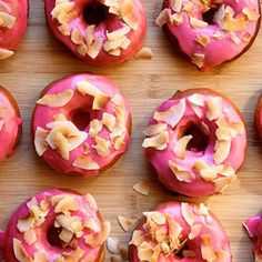 Pink Raised Doughnuts with Toasted Coconut