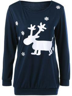 da1db82e97d Deer Print Christmas Snowflake Sweatshirt in Purplish Blue