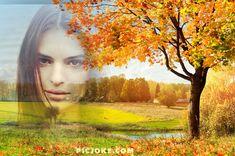 Fotomontaje en un paisaje de otoño