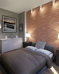 Design your dream bedroom with Homestyler Small Room Interior, Brick Interior, Home Interior Design, Teen Room Decor, Bedroom Decor, Brick Wall Bedroom, Bedroom Design Inspiration, Master Room, Bedroom Styles