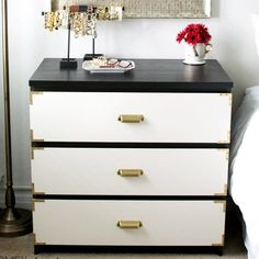 Paint and brass accents turn the IKEA Malm into a chic, campaign style dresser!  Click through for the how-to.