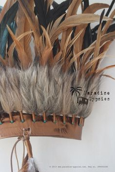 Metallic Gold Leather CROWN Gold Black Feather door ParadiseGypsies