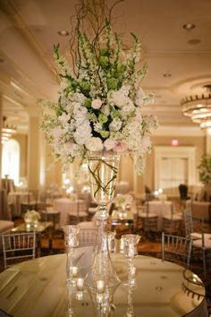 Hydrangea and Rose Topiary Reception Arrangement   photography by http://www.greergphotography.com