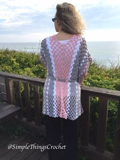 Easy Crochet Vest for Women Easy Crochet Sweater Women's image 2 Crochet Poncho Patterns, Shawl Patterns, Crochet Cardigan, Crochet Shawl, Crochet Vests, Crochet Edgings, Crochet Motif, Quick Crochet, Crochet Top