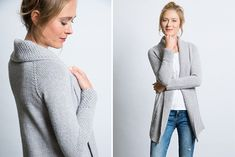 Cardigan+mit+Perlmuster-Blende+stricken!