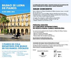 ¡Mañana Bilbao se llena de pianos! Más información acerca de esta preciosa iniciativa: http://bilbao.townwizard.com/event_details.php?title=M%C3%9ASICA:%20Bilbao%20se%20llena%20de%20pianos=2013-04-12_id=1974