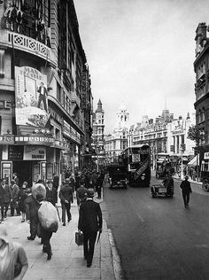The Astoria (left) in Charing Cross Road, London, was opened in 1927, photographed here 1930.