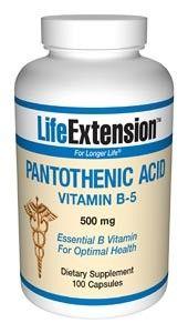 Life Extension Pantothenic Acid (Vitamin B5) 500mg 100 Caps