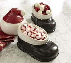 Santa Boot Snack Bowls #potterybarn