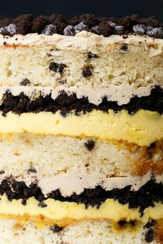 """A """"naked"""" cake with layers of buttermilk chocolate chip cake, passion fruit curd, coffee buttercrea, and chocolate crumbles. One cake easily serves Christina Tosi, Nake Cake, Passion Fruit Curd, Coffee Buttercream, 6 Cake, Chocolate Chip Cake, Cake Batter, Cake Recipes, Chips"""
