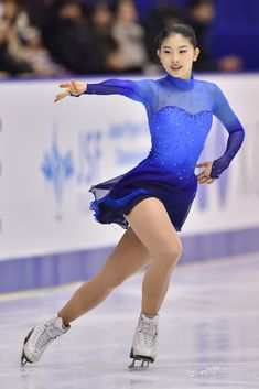 Yuka Nagai of Japan competes in the Ladies free skating during the day three of the 2015 Japan Figure Skating Championships at the Makomanai Ice Arena on December 2015 in Sapporo, Japan. Figure Skating Outfits, Figure Skating Costumes, Ice Dresses, Ice Skating Dresses, Ice Skating Pictures, Figure Ice Skates, New Blue, Ice Skaters, Skateboard Girl