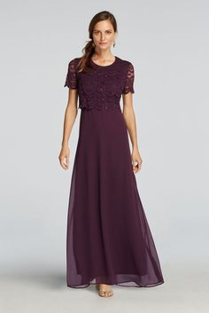 Short Sleeved Lace Sequined Mock Two Piece Mother of Bride/Groom Dress - Plum (Purple), 12