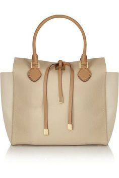 Ivory and beige leather (Calf) Two tan top handles Gold hardware, feet Internal zipped and patch pockets Fully lined in taupe suede (Calf) Tie fastenings at top Comes with dust bag