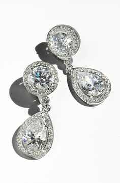 These sparkly crystal drop earrings are fit for a princess.