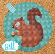 Squirrel cross stitch, needlepoint, tapestry pattern. PDF, instant digital download,epattern. Woodland creature