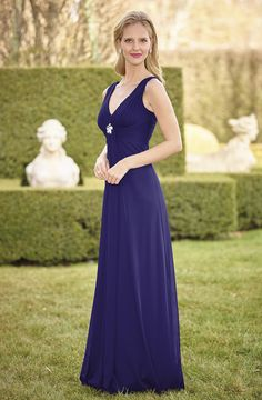 Sizes: 6-26  High twist chiffon long bridesmaid dress with diamonte trim.  Bridesmaids dresses are made to order and can take up to 12 weeks. Fabric swatches are available to order upon request – contact your local stockist. Not all sizes and colours sampled in store.  Click here to find your nearest stockist