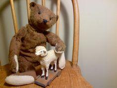 Steiff bear, 1948 with german putz sheep pull toy