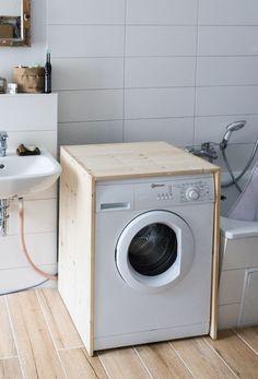 Laundry Room Bathroom, Laundry Room Design, Bathroom Flooring, Outdoor Laundry Rooms, Washing Machine Cover, Kitchen Washing Machine, Diy Gazebo, Gazebos, Jack And Jill Bathroom