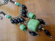 Art Deco Necklace Green and Black Beads 1910's-1920's: I like art deco style jewelry (1920's-1930's) Vintage is great!