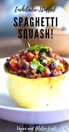 Enchilada Stuffed Spaghetti Squash with black beans, corn, bell pepper and cilantro --keep it vegan or add cheese! Easy Delicious Recipes, Healthy Dinner Recipes, Mexican Food Recipes, Vegetarian Recipes, Healthy Dinners, Easy Meals, Enchiladas, Crockpot, Taco