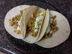 Breakfast tacos with dill cream sauce.