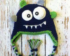 Crochet baby monster hat blue 0-5T by GBabyCrochet on Etsy