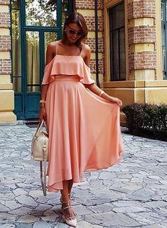 pink ruffle dress, pink spaghetti strap dress, cute pink dress - Lyfie